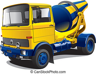 old-fashioned concrete-mixer - Detailed vectorial image of...