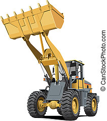 light-brown front end loader - Detailed vectorial image of...