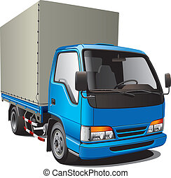 small blue truck - Detailed image of small blue truck,...