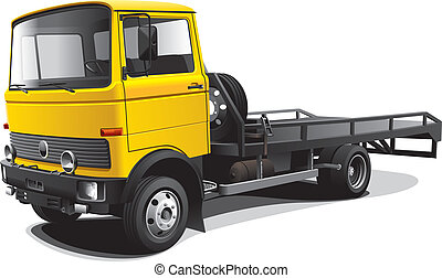 old-fashioned tow truck - Detailed vectorial image of yellow...