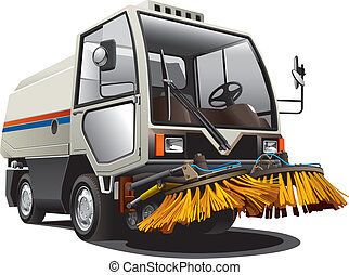 sweeper - Detailed image of little sweeper, isolated on...