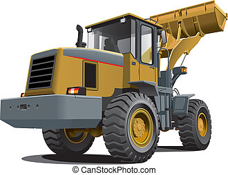 front end loader - Detailed vectorial image of pale brown...