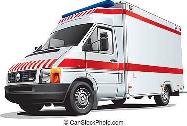 ambulance car - Detailed image of ambulance car, isolated on...