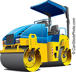 double road roller - Detailed vectorial image of double...