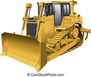 light-brown dozer - Detailed vector image of large...