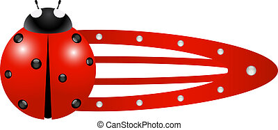 Hair clip %u2013 Ladybug in red colour isolated on white...