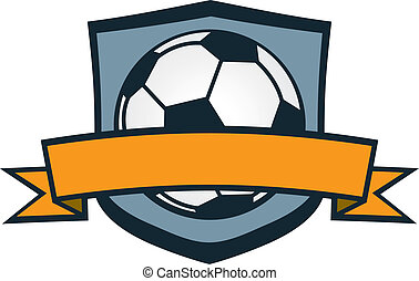 Soccer Team Crest - Soccer ball crest with blank banner