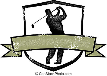 Vintage Golf Player Crest - Distressed style golf crest with...