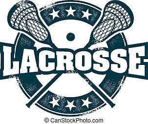 Lacrosse Sport Stamp - Distressed Lacrosse stamp with...