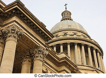 Dome of Paris Pantheon - Detailed view of Dome of Paris...