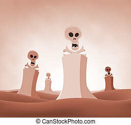 Nuclear Death Landscape - Illustration of a devastated...