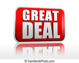 Great deal red 3d banner with white text