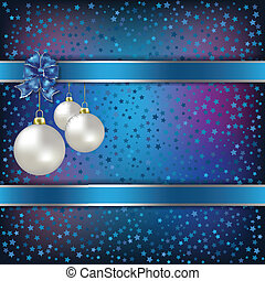 Christmas balls and stars blue vector background - Christmas...
