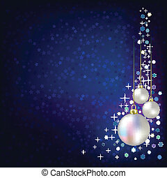 Christmas decorations and stars blue background - Christmas...