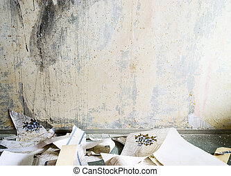 Vintage interior - Dirty old room with torn wallpaper on the...