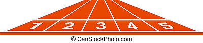 Running track - start position on white background