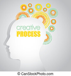 creative consciousness - silhouette of a man with sketches...