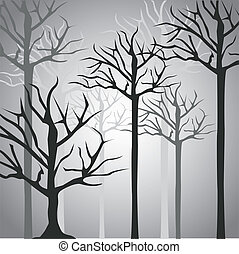 Silhouettes of tree trunk in black and gray, vector...