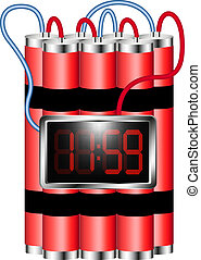 Time bomb connected to digital clock explodes on white...