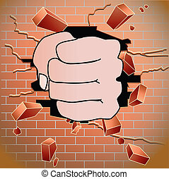 Brick wall - Fist breaking red brick wall