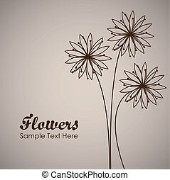 simple flower background, outlined in brown, vector...