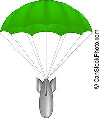 Bomb at green parachute