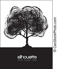 silhouette illustration of a tree