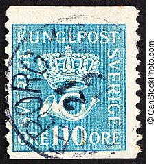Postage stamp Sweden 1920 Heraldic Lion - SWEDEN - CIRCA...