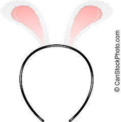 Bunny ears headband isolated on white background