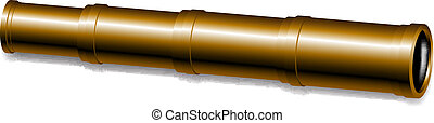 Spyglass in golden design on white background