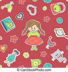 Pattern for little girls - Seamless pattern with girl and...