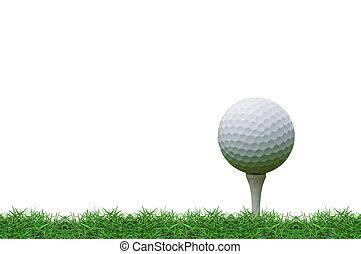 golf ball on the tee - isolated golf ball on the tee