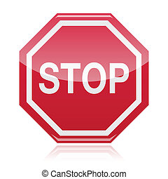 Stop warning road sign - Red glossy warning sign - help,...