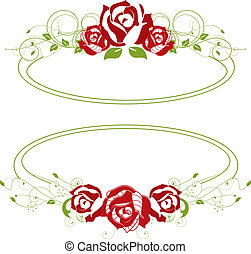 red roses in a green frame
