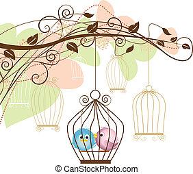Pássaros, gaiola
