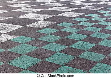 Checkered pavement