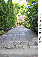 Garden Paver Path Walkway - Garden Pavers Path Walkway with...