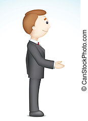 Business Man doing Handshake - illustration of confident 3d...
