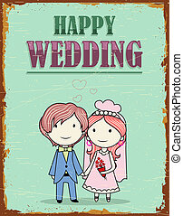 Wedding Couple - illustration of haapy wedding background in...