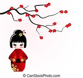 Kokeshi, boneca, sob, sakura, ramo