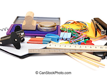 many office tools on white background