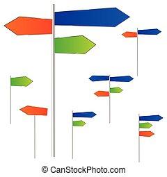 Color,  vector, tres, camino, señal