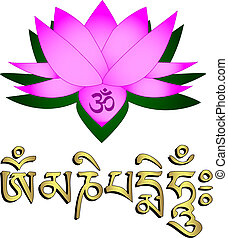 Lotus flower, om symbol and mantra om mani padme hum