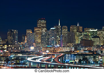 San Francisco - Image of San Francisco skyline and busy...