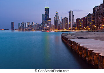 Chicago Skyline. - Chicago downtown skyline at dusk.