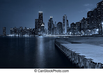 Chicago Skyline - Toned image of Chicago downtown skyline at...