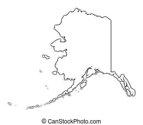 Alaska (USA) outline map with shadow. Detailed, Mercator...