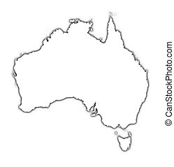 Australia outline map with shadow. Detailed, Mercator...