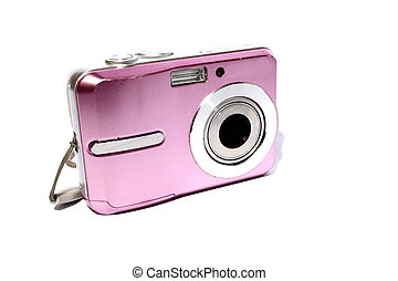 Pink Digital Camera - Isolated womens pink digital camera...