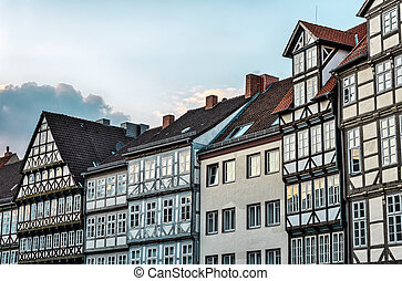 Old town of Hannover, Germany - Fronts of typical houses in...